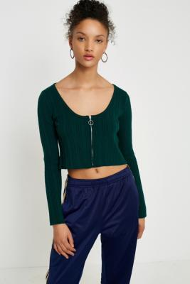 Cooperative by Urban Outfitters - Urban Outfitters Ribbed Zip-Up Cropped T-Shirt, Green
