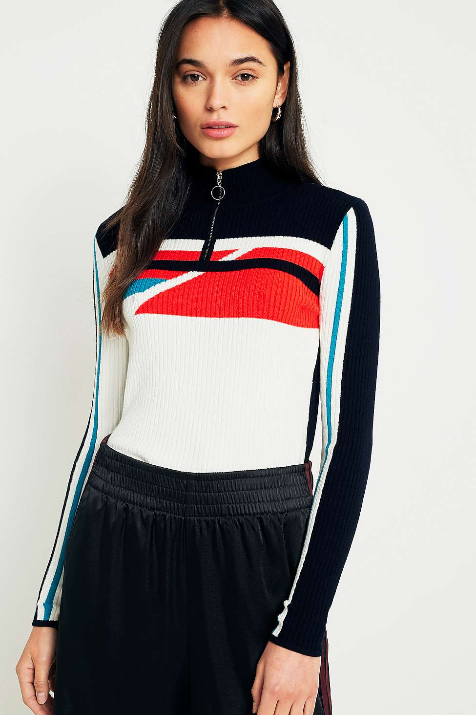 Urban Outfitters Geometric Half-Zip Mock Neck Jumper, Black