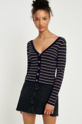 Urban Outfitters - UO V-Neck Striped Button-Down Cardigan, Assorted