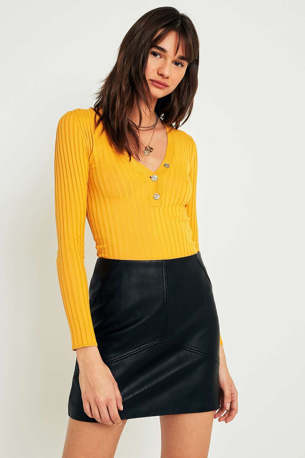 Urban Outfitters Ribbed Plunging V-Neck Jumper, Yellow