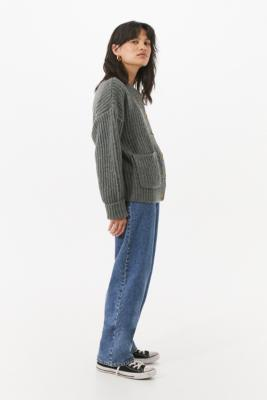 UO Fisherman Pocket Cardigan - Grey XS at Urban Outfitters