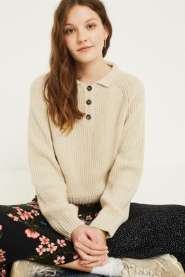 Urban Outfitters - UO Fisherman Polo Jumper, beige