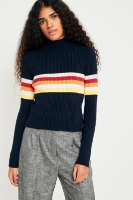 Cooperative by Urban Outfitters - Urban Outfitters Rainbow Striped Funnel Neck Jumper, Navy
