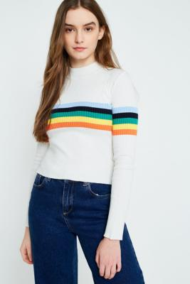Urban Outfitters - UO Rainbow Striped Funnel Neck Ribbed Jumper, Cream