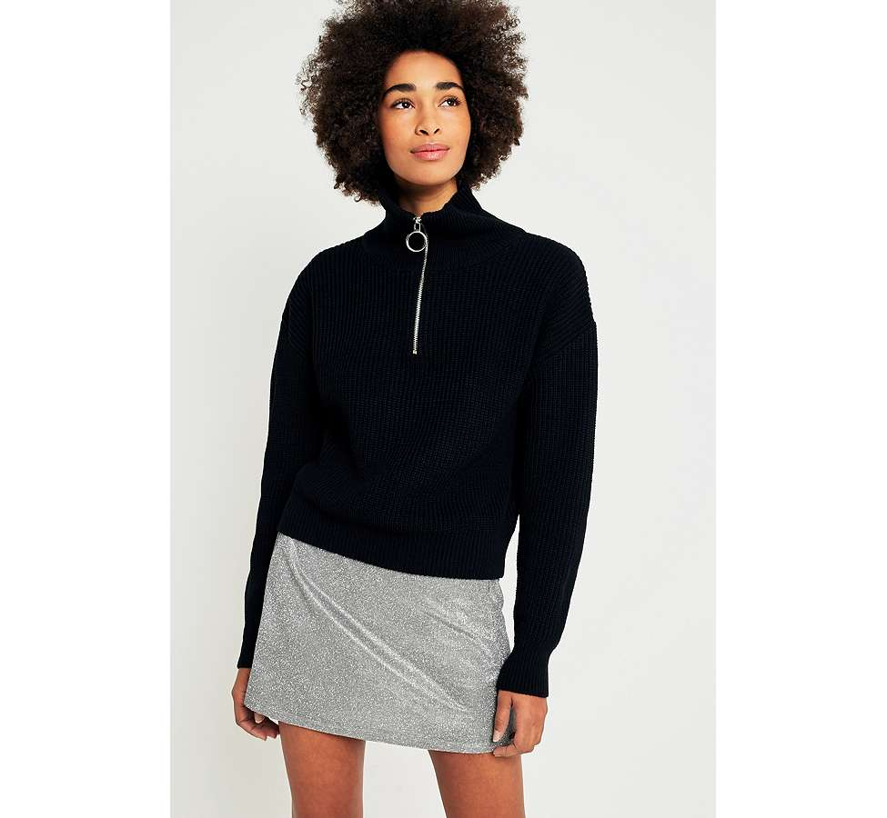Slide View: 6: Urban Outfitters Funnel Neck Half-Zip Fisherman Jumper