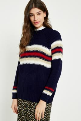 Urban Outfitters - UO Blurred Striped Jumper, Navy