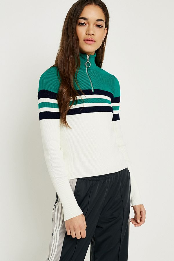 Slide View: 1: UO Colour Block Stripe Half-Zip Funnel Neck Jumper