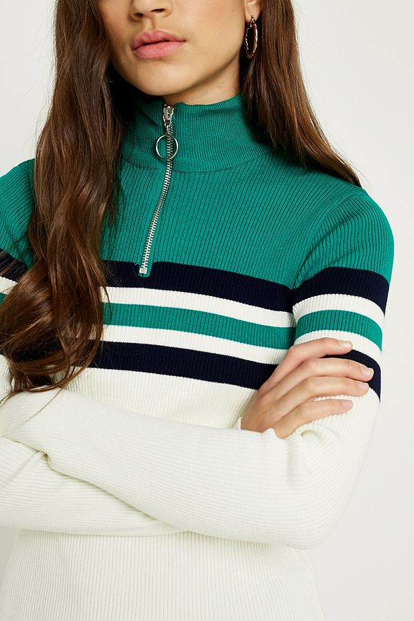 Slide View: 2: UO Colour Block Stripe Half-Zip Funnel Neck Jumper