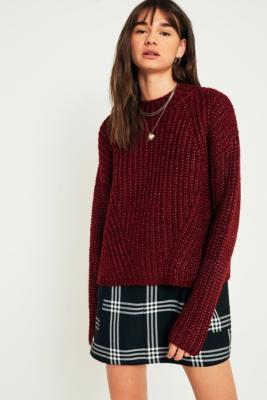 Pins and Needles - Pins  &  Needles Lofty Fisherman Funnel Neck Jumper, Maroon