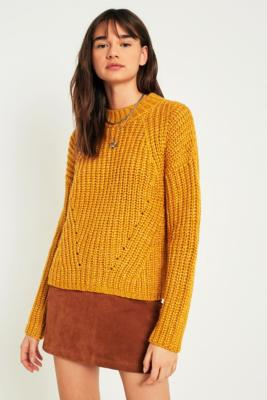 Pins and Needles - Pins  &  Needles Lofty Fisherman Funnel Neck Jumper, Yellow