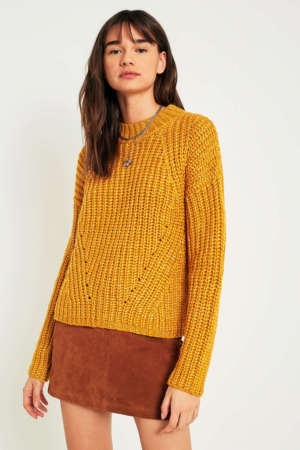 Pins  &  Needles Lofty Fisherman Funnel Neck Jumper, Yellow