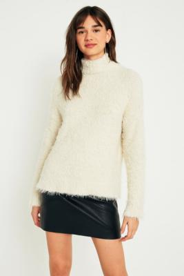 Sparkle and Fade - Sparkle  &  Fade Teddy Mock Neck Jumper, Cream