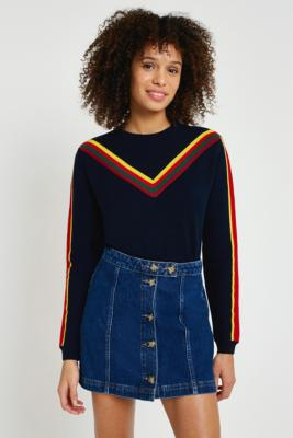 Cooperative by Urban Outfitters - Urban Outfitters Chevron Striped Ski Jumper, Navy