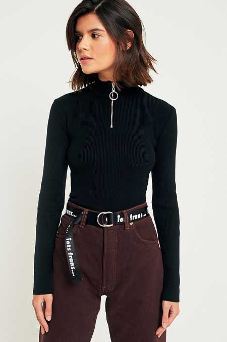 Urban Outfitters Ribbed Zip-Up Mock Neck Shirt