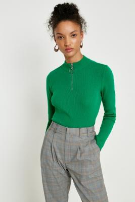 Cooperative by Urban Outfitters - Urban Outfitters Ribbed Half-Zip Green Jumper, Green