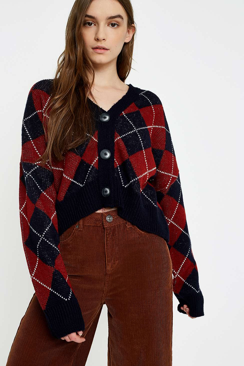 UO Argyle Button-Down Cardigan, Maroon