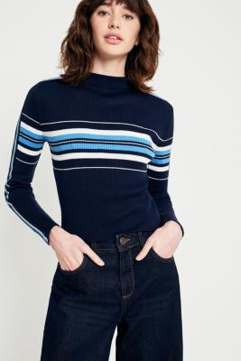 Cooperative by Urban Outfitters - Urban Outfitters Sporty Stripe Ski Jumper, Navy