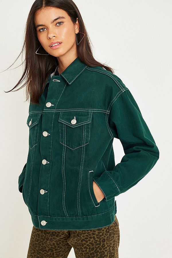 Slide View: 1: BDG Green Contrast Stitch Western Trucker Jacket