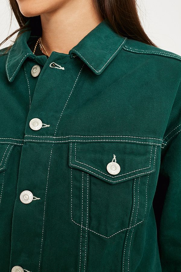 Slide View: 5: BDG Green Contrast Stitch Western Trucker Jacket