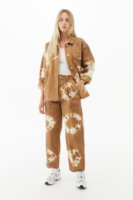 BDG Tie-Dye Shirt Jacket - Brown M at Urban Outfitters