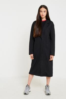 Light Before Dark - Light Before Dark Pinstriped Duster Coat, Navy