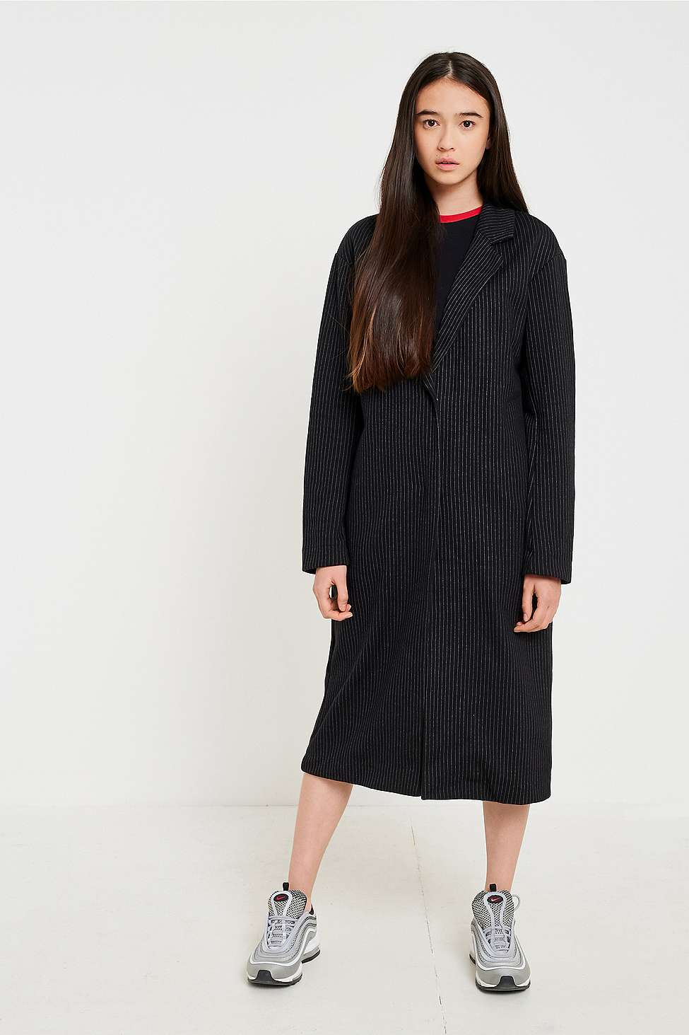 Light Before Dark Pinstriped Duster Coat, Navy