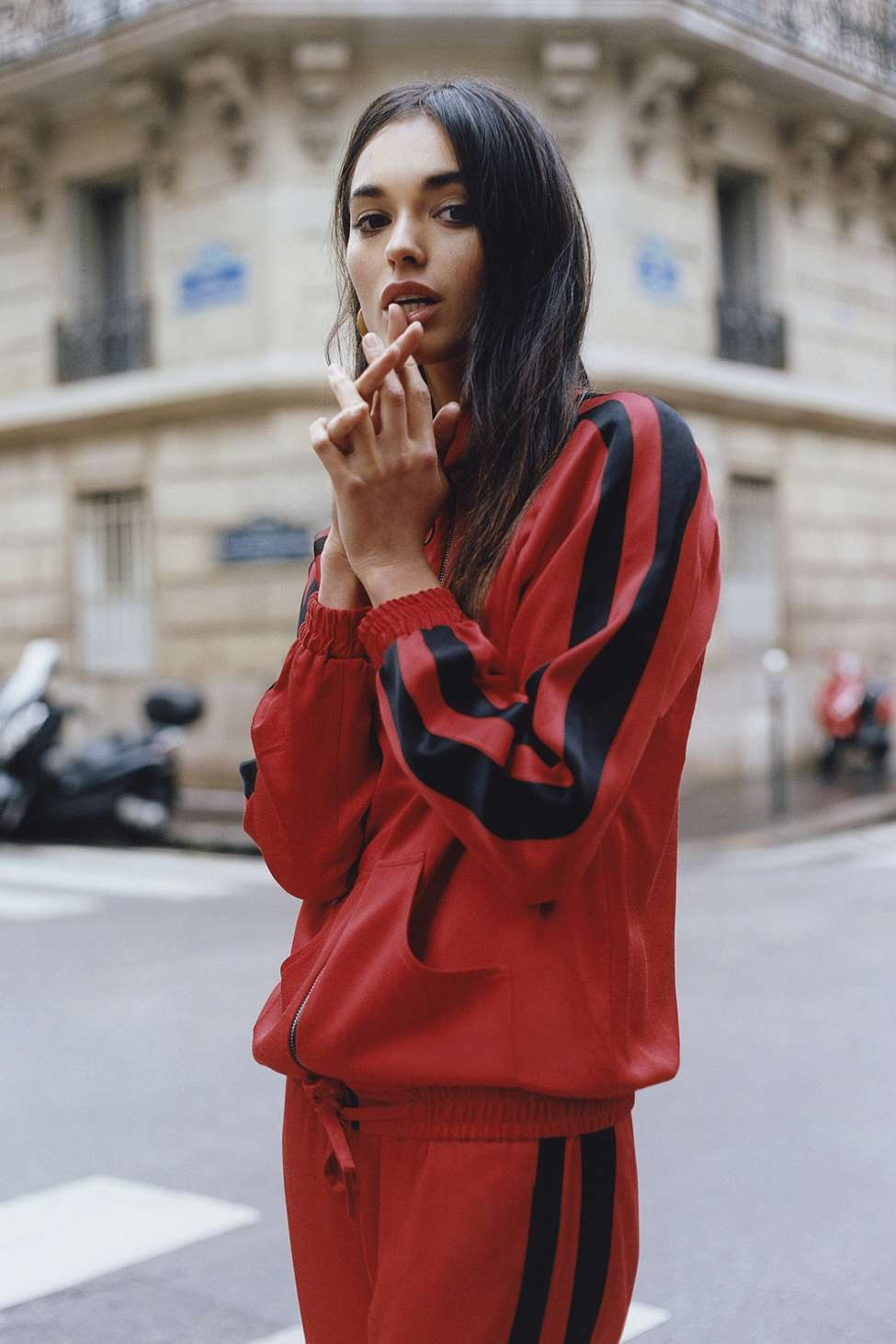 Light Before Dark Red Striped Track Jacket, Red