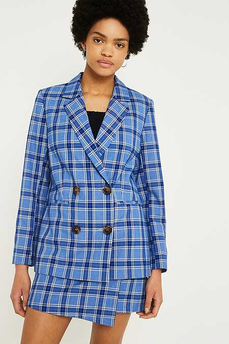 UO Blue Check Double Breasted Blazer