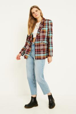 Uo Maroon Check Blazer by Urban Outfitters