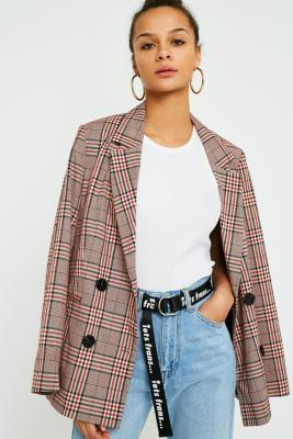 Urban Outfitters - UO Bold Red Check Blazer, Red