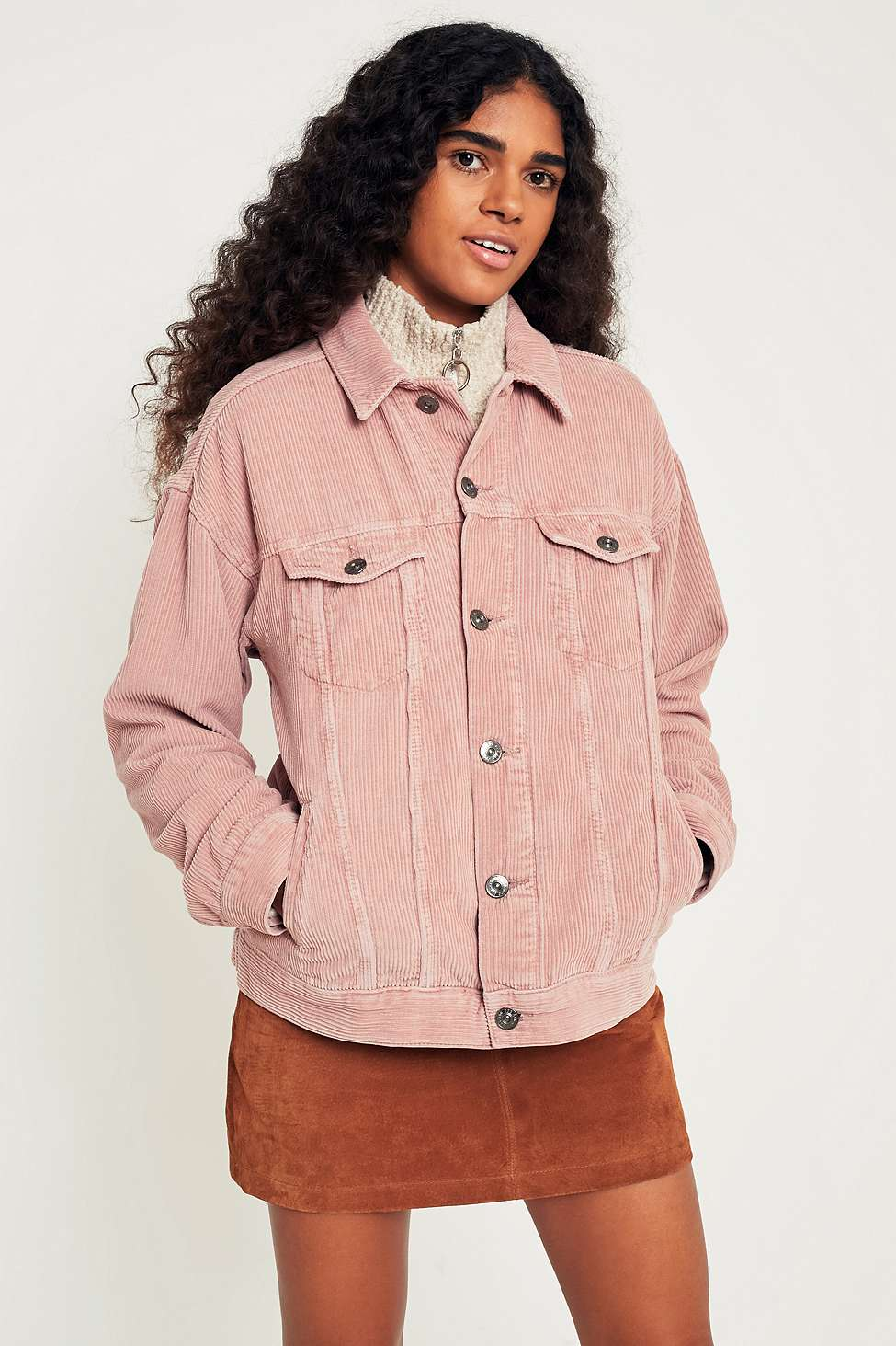 BDG Dusty Pink Corduroy Trucker Jacket, Pink