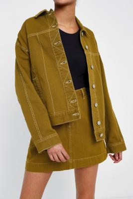 BDG - BDG Contrast Stitching Jacket, Khaki