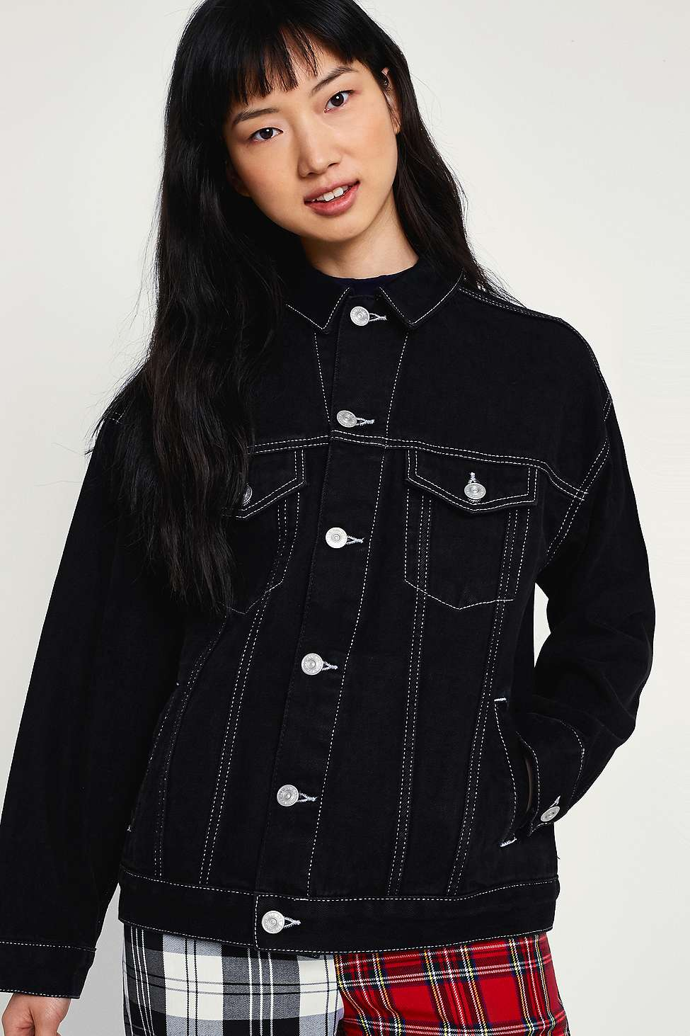 Bdg Black Contrast Stitched Denim Jacket Urban Outfitters