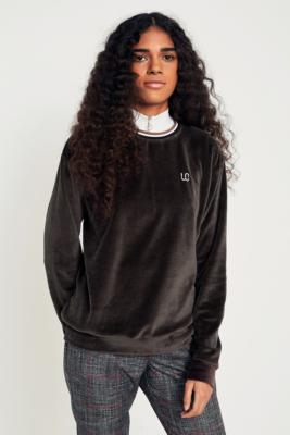 Cooperative by Urban Outfitters - Urban Outfitters Striped Collar Velour Sweatshirt, Brown