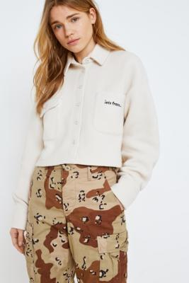 iets frans... - iets frans…  Cropped Fleece Overshirt, Cream