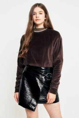 Cooperative by Urban Outfitters - Urban Outfitters Brown Velour Tipped Neck Sweatshirt, Brown