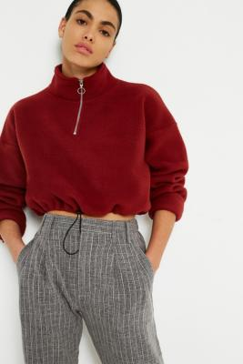Light Before Dark - Light Before Dark Fleece Funnel Neck Track Top, Maroon