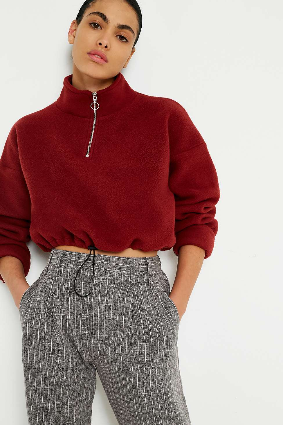 Light Before Dark Fleece Funnel Neck Track Top, Maroon