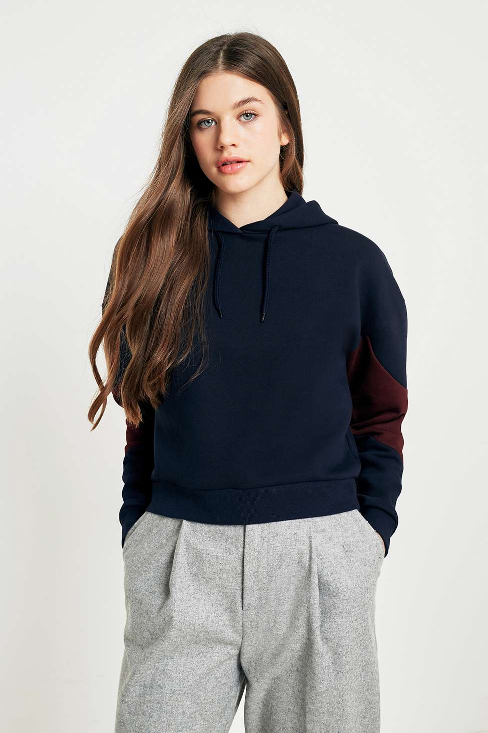 Urban Outfitters Colour-Blocked Hoodie, Navy