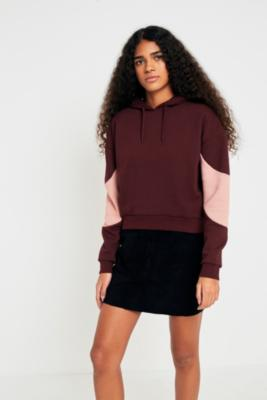 Cooperative by Urban Outfitters - Urban Outfitters Colour-Blocked Sleeve Hoodie, Maroon