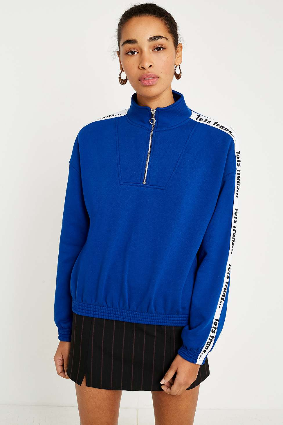 iets frans…  Blue Logo Taped Sleeve Track Top, Blue