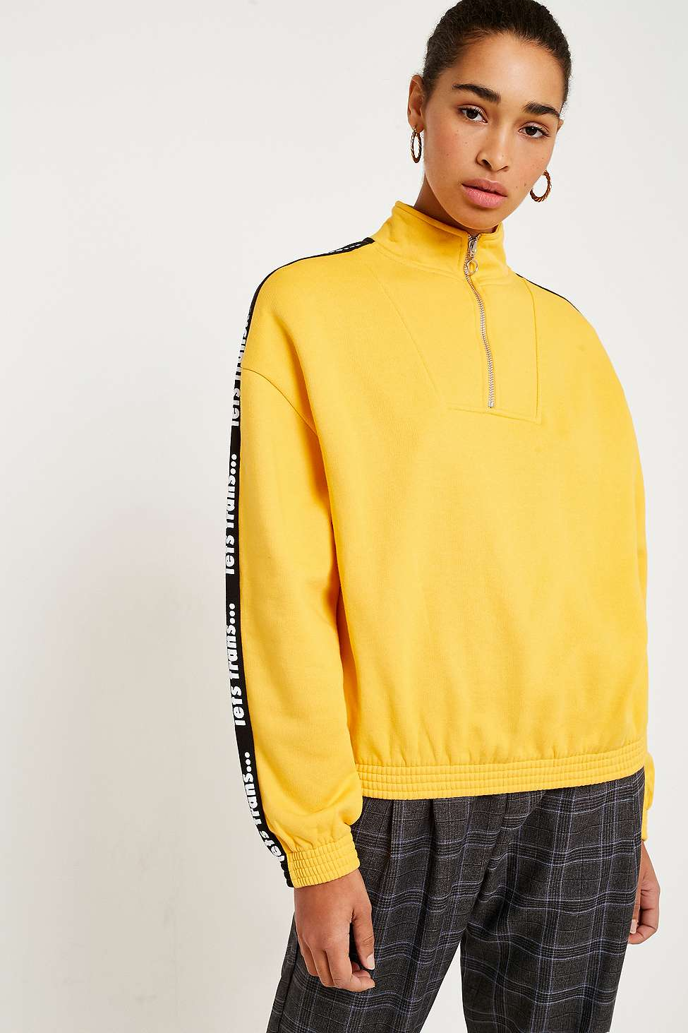 iets frans…  Blue Logo Taped Sleeve Track Top, Yellow