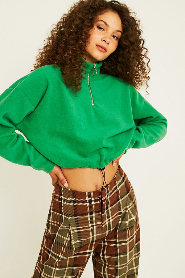 Slide View: 1: UO Fleece Funnel Neck Track Top
