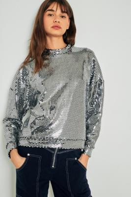 Light Before Dark - Light Before Dark Disco Sequin Mock Neck Sweatshirt, Silver