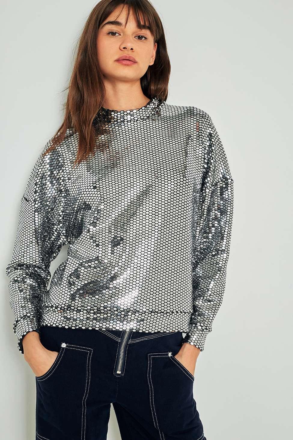 Light Before Dark Disco Sequin Mock Neck Sweatshirt, Silver