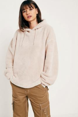 Cooperative by Urban Outfitters - Urban Outfitters Soft Teddy Hoodie, Cream