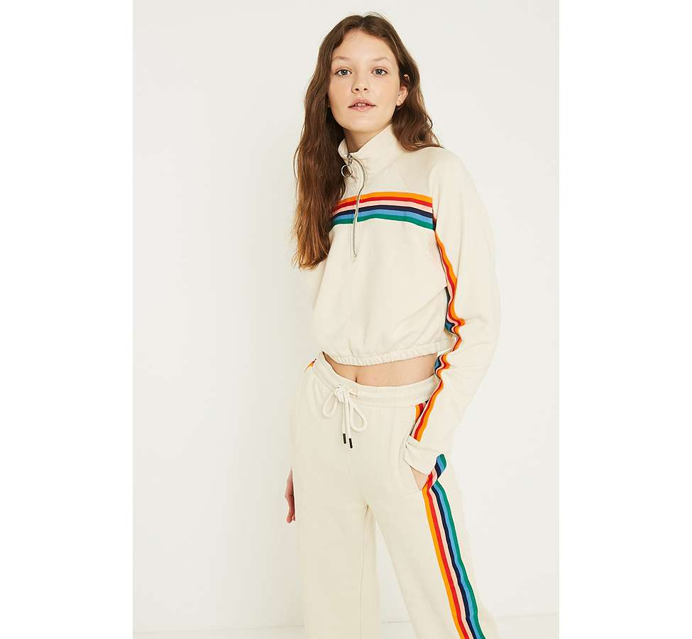 Slide View: 1: UO Rainbow Striped Funnel Neck Track Top