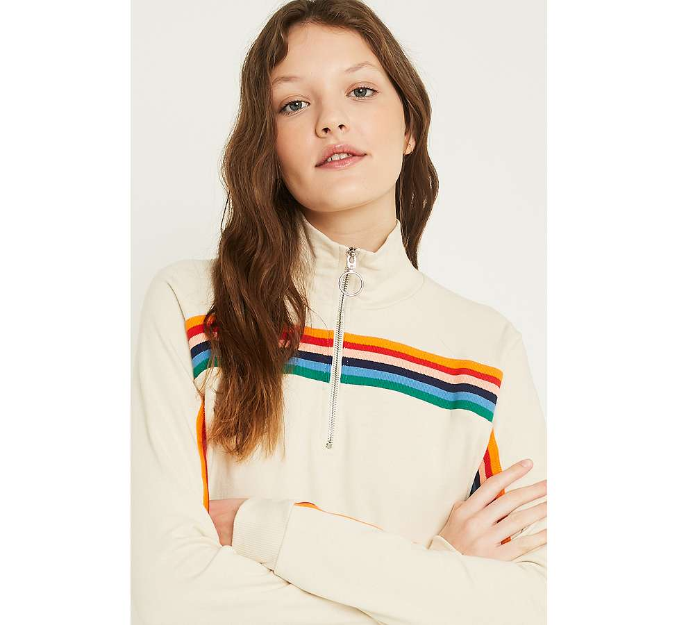 Slide View: 5: UO Rainbow Striped Funnel Neck Track Top