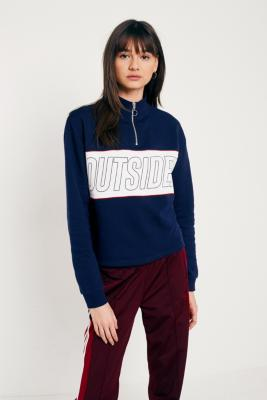 Urban Outfitters - UO Outsider Half-Zip Funnel Neck Sweatshirt, Navy