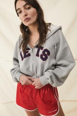 iets frans. Zip-Through Crop Hoodie - Grey L at Urban Outfitters